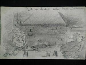 Rare croquis alpinisme 1920 - 1930 six illustrations au fusain Belledonne Alpes