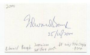 Edward Baugh Signed 3x5 Index Card Autographed Signature Author Writer Poet