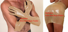 English Premium Male Female Semi Trans Latex Rubber Shoulder Gloves Small