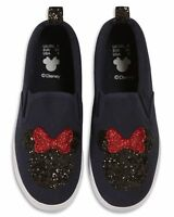 Primark Ladies Disney Minnie Mouse Glitter Logo Trainers Slip On Sneakers Shoes