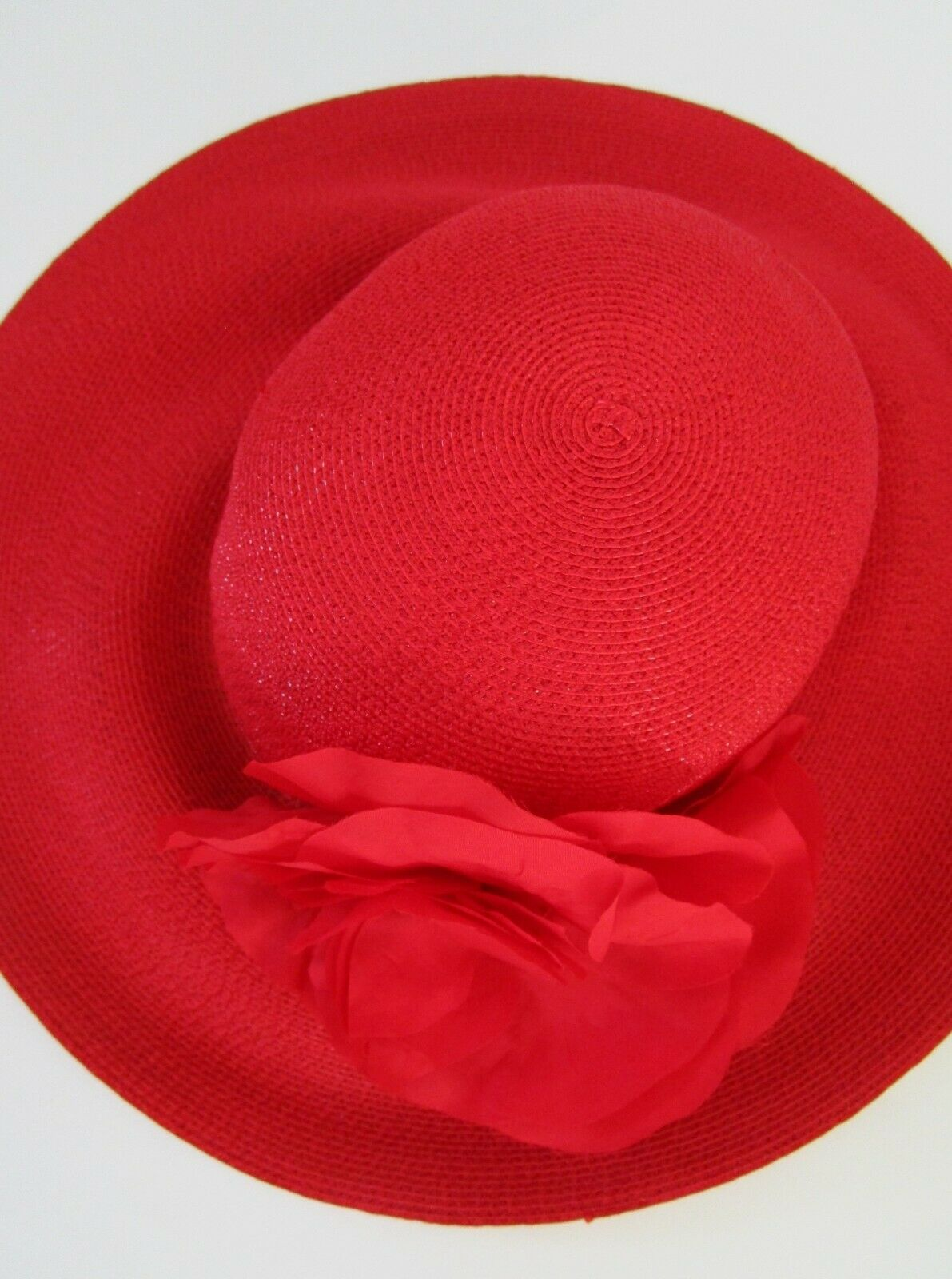 Patricia Underwood Red Wide Brim Hat Silk Flower … - image 8