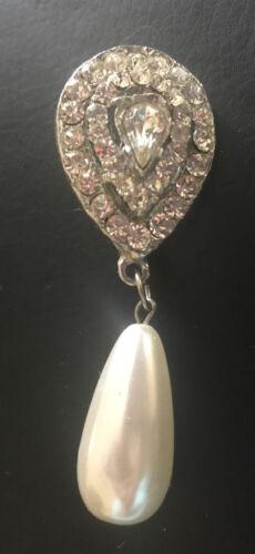Crystal Pear Tear Rhinestone & Oblong Pearl Bead … - image 1