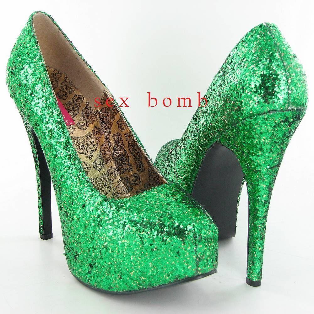 Sexy DECOLTE' GLITTER GLITTER GLITTER tacco 14,5 green plateau INVISIBILE dal 36 al 42 shoes fb7a7d