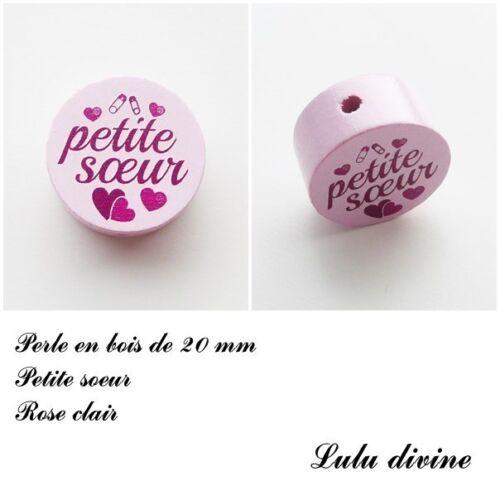 Perle en bois de 20 mm Coeur : Rose clair Petite soeur Perle plate