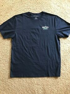 NAUTICA-Blue-Indigo-Graphic-Logo-Crewneck-T-Shirt-XL-New-Mens
