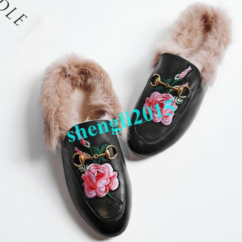 Vogue Donna Embroidery Floral Flats Cony Hair Comfort Mules Slippers Shoes y@