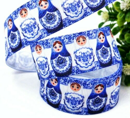 """1/"""" 2 YARDS Russian Nesting Doll Grosgrain Ribbon Bows Cards Crafts Scrapbooks"""