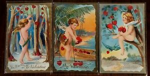 Beautiful-Lot-of-3-Cupids-with-Hearts-Antique-Valentine-039-s-Day-Postcards-s185