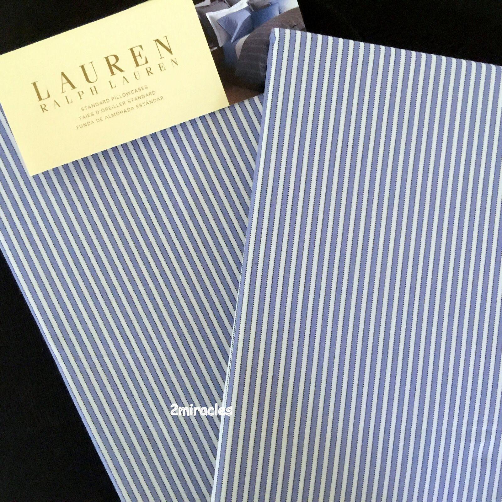 2 Ralph Lauren Standard Jermyn Street Stripe Pillowcases Blau Weiß Cotton RARE