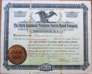 Clark-Automatic-Telephone-Switch-Board-Co-1900-Stock-Certificate-Providence-RI