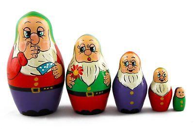 Matryoshka Russian Nesting Doll Wooden Poupee Craft Babushka Gnomes Dwarfs 5 pcs