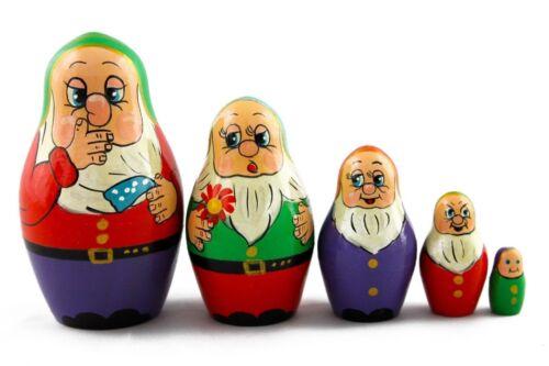 Matryoshka Russian Nesting Doll Wooden Babushka Poupee Puppe Dwarfs Gnomes 5 pcs