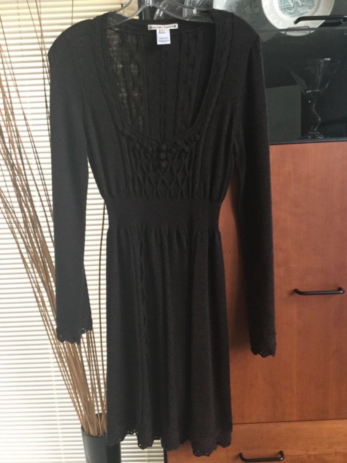 NWOT Nanette Lepore braun knit dress Größe S cabled merino wool