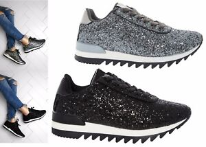 Womens-Ladies-Lace-Up-Trainer-Bali-Runner-Sparkly-Glitter-Walking-Gym-Shoes-Size
