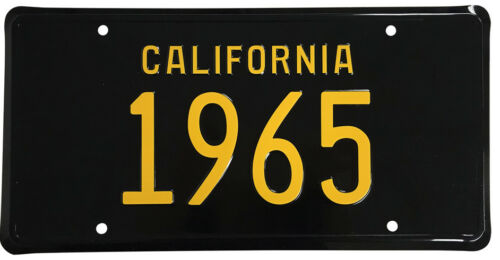 New 1965 CALIFORNIA Vintage Look Black Yellow License Plate Free Shipping 65-C