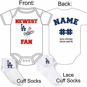 Personalized L A Dodgers Baseball Fan Baby Gerber Onesie Socks