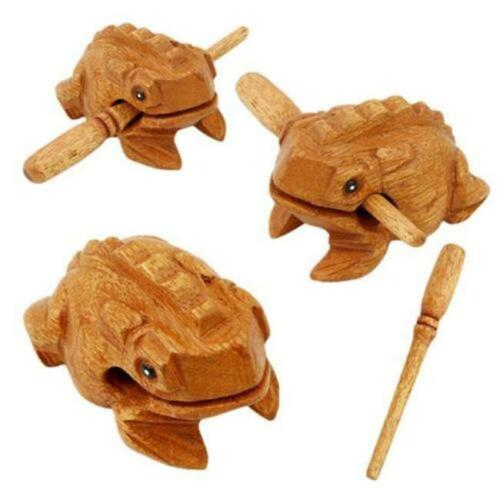 Frog Carved Wooden Croaking Musical Instrument With Stick Handcrafted RF