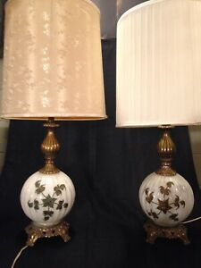 Image Is Loading 2 VINTAGE 3 WAY TABLE LAMPS GLASS BRASS