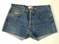 Levi's Vintage 501 Denim Blue High Waist Shorts Cut Off Hot Pants W32 W34 R11.5