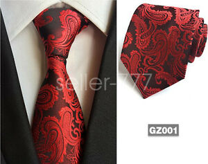 Red-Classic-Mens-Paisley-Tie-Necktie-Wedding-Fashion-JACQUARD-WOVEN-Tie-gift