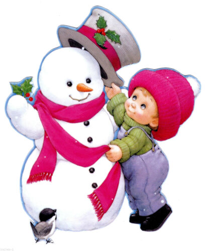 """6/"""" Precious moments boy snowman christmas holiday window cling decal cut out"""
