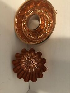 Lot-of-2-Vintage-Copper-Tin-Molds-Jello-Mold-Wall-Hanging-Decor-3-1-2-Cup