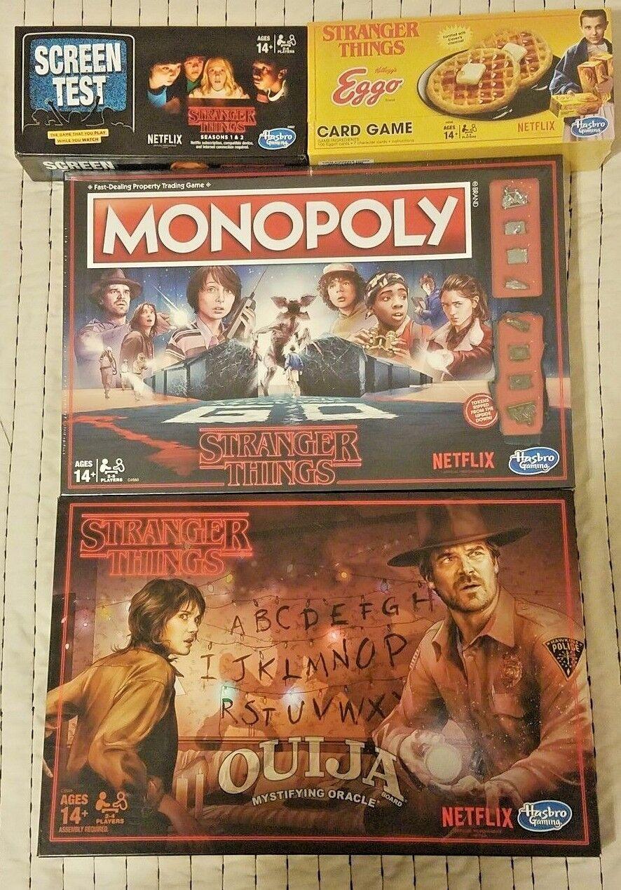 Brand New des choses bizarres Jeux Lot Screen test + Eggo Cards + Monopole + entrer
