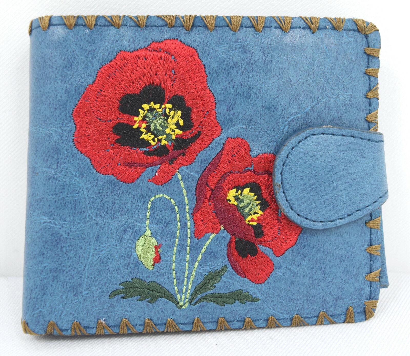 Lavishy Red Poppy Flower Embroidered Medium Bi-Fold wallet with gift box