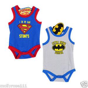 52cf386d66b31 Genuine DC Comics Baby Boy Superman Batman Cotton Singlet Bodysuit ...
