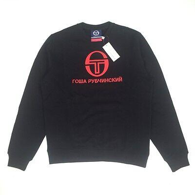 NWT Gosha Rubchinskiy Sergio Tacchini Black Logo Sweatshirt M-XL SS17 AUTHENTIC