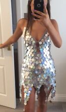 Backless Festival Ibiza Unicorn Sequin Dress Pixie Hem Silver Mermaid Hologram