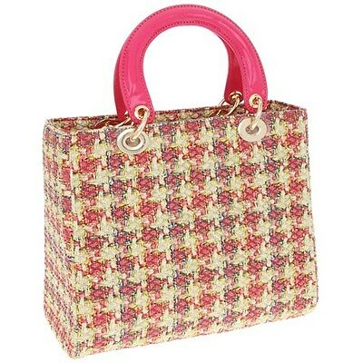 Vintage Fuschia Printed Woven Handbag / Top Handle Bag by Equilibrium * Gift