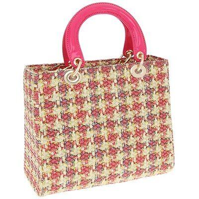 Vintage Fuschia Printed Woven Handbag / Top Handle Bag by Equilibrium * Gift