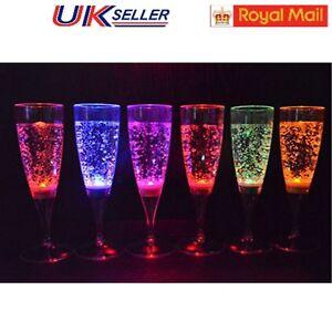 6Pcs Set DIY LED Light Wine Flute Light Up Activated Champagne Glasses Party Cup