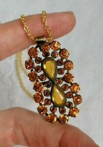 Vintage Art Deco Buckle Citrine Czech Rhinestone Gold Tone Pendant Necklace