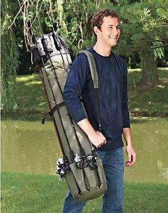 Portable Fishing Rod Case Carrier Holder Rack Hooks Pole Storage Organizer Strap