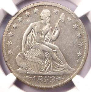 1853-O-Arrows-amp-Rays-Seated-Liberty-Half-Dollar-50C-Certified-NGC-VF-Details