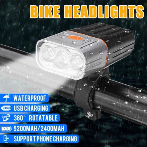 5200mAh L2//T6 LED MTB Road Bike Bicycle Light Front Headlight USB Rechargeable