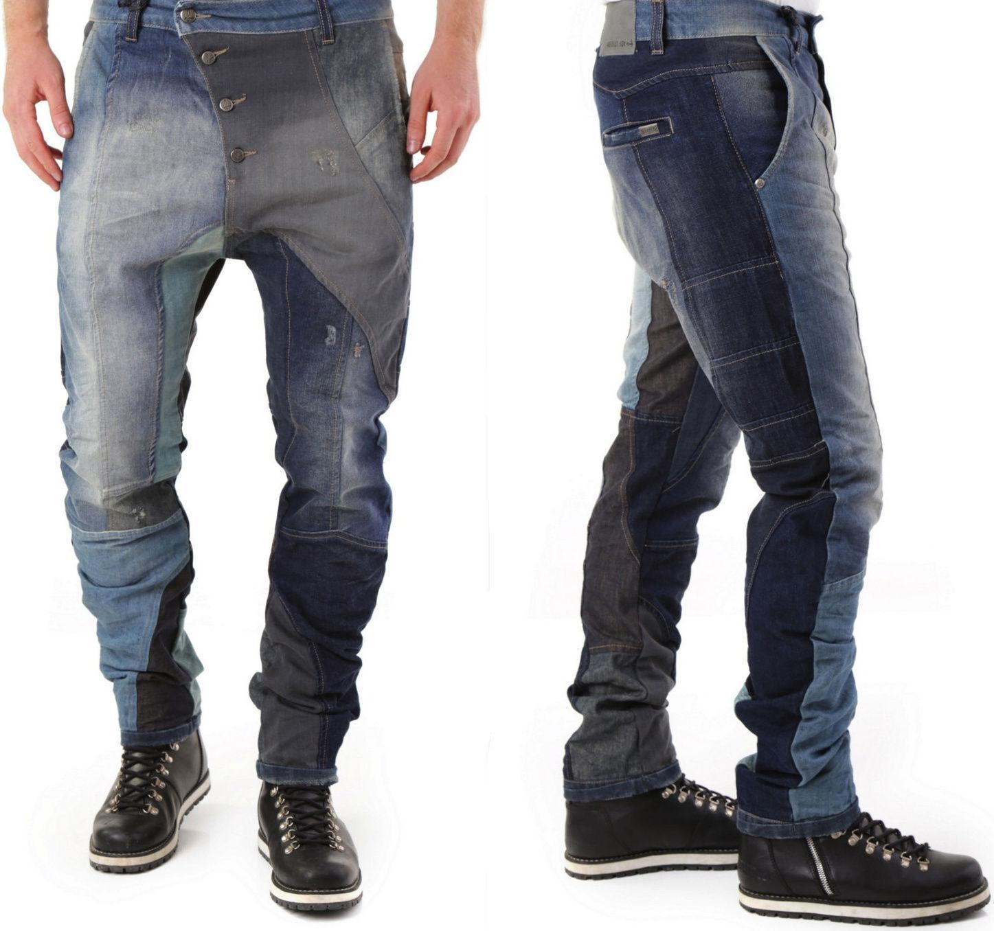 ABSOLUT JOY uomo eleganti superfici curve lisce Loose-Fit MULTIcolore Jeans Pantaloni M-L