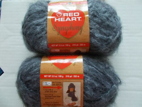 Red Heart Symphony brushed yarn Charcoal 310 yds each lot of 2