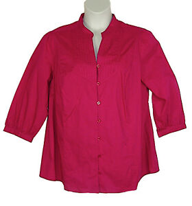 St-Johns-Bay-Hot-Pink-Blouse-2X-3-4-Sleeve-Buttoned-Down-V-Neck-Cotton-Blend