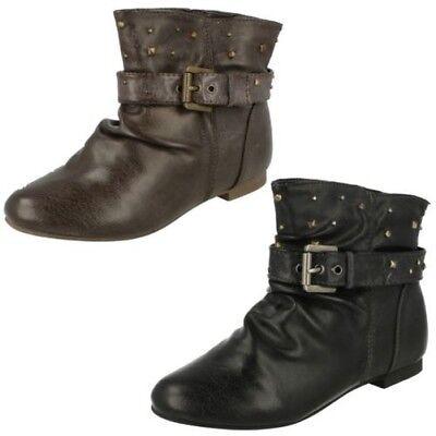 Schuhe Für Mädchen DemüTigen Mädchen Cutie Flach Schnalle Riemen Stiefeletten H4r054 Billigverkauf 50%