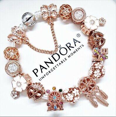 Authentic Pandora Charm Bracelet Silver with ROSE GOLD LOVE HEART European  Beads | eBay