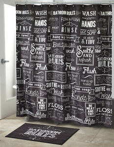 Image Is Loading Black White Shower Curtain Bathroom Word Quotes Curtains