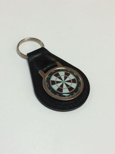 Darts Platte Scheibe Leder Schlüsselanhänger mit Kuppel Aufkleber