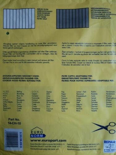 Pour s/'Adapter Beko Cuisinière Hotte filtre à graisse papier Saturation Indicateur 57 x 47 cm