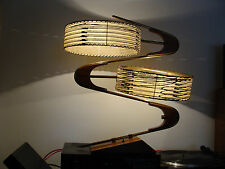 Vtg 1950's Majestic Z Zigzag Boomerang Table Lamp W/ Original Fiberglass Shades