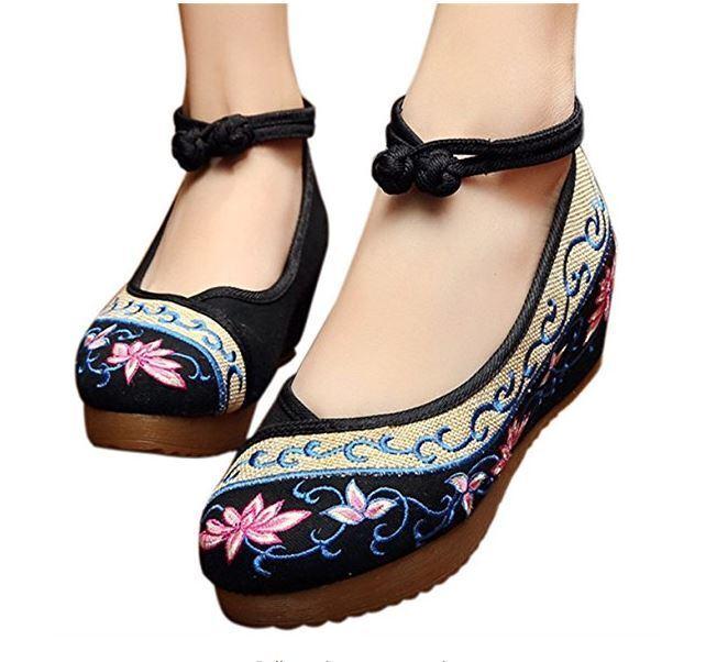 Para mujeres Sandalias De Cuña Con Bordado Bordado Bordado De Loto Cómodo Casual Zapatos para Caminar EE. UU.  precio al por mayor