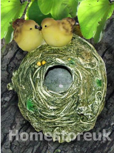 jaune oiseaux avec nid suspendus sur arbre d/'ornements de jardin Fabriqué à la main 2 bleu