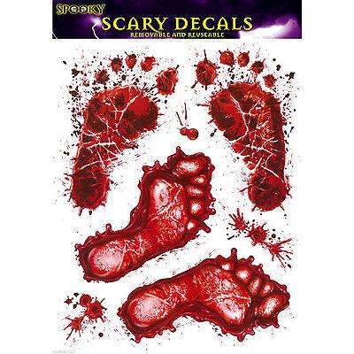 Halloween Window Stickers Footprints Feet Blood Party Decorations Horror Spooky